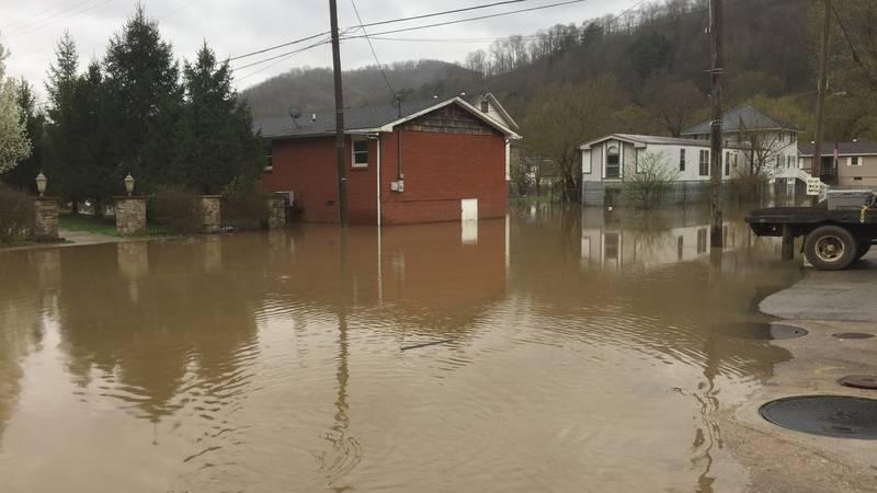 Flood waters in Wayland, Ky.