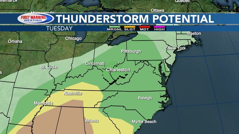 Thunderstorm threat for Tuesday, May 4, 2021