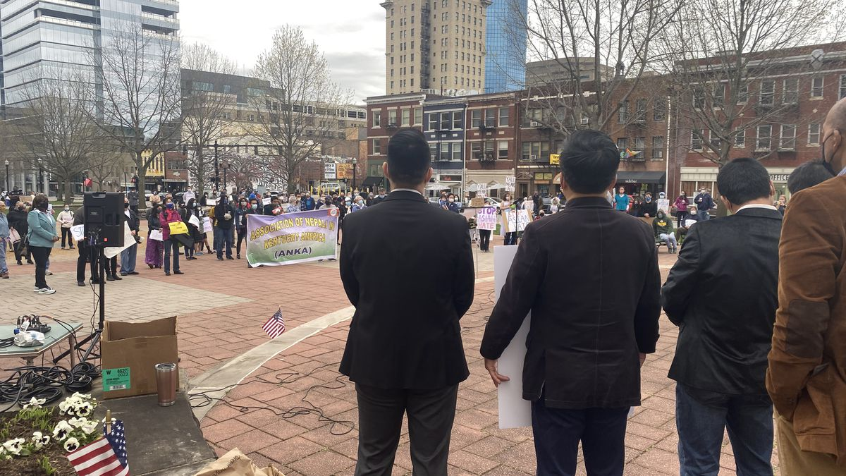 Speakers from different groups addressed the large crowd in Lexington.