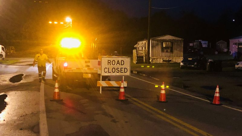 A mudslide closed Cabin Creek Road near Wealthy Acres Road in Kanawha County for several hours.