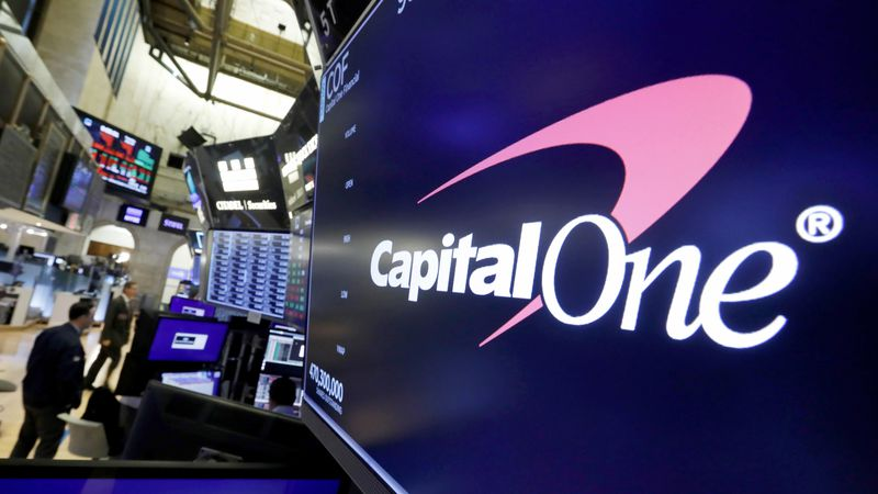 FILE - In this July 30, 2019 file photo, the logo for Capital One Financial is displayed above...