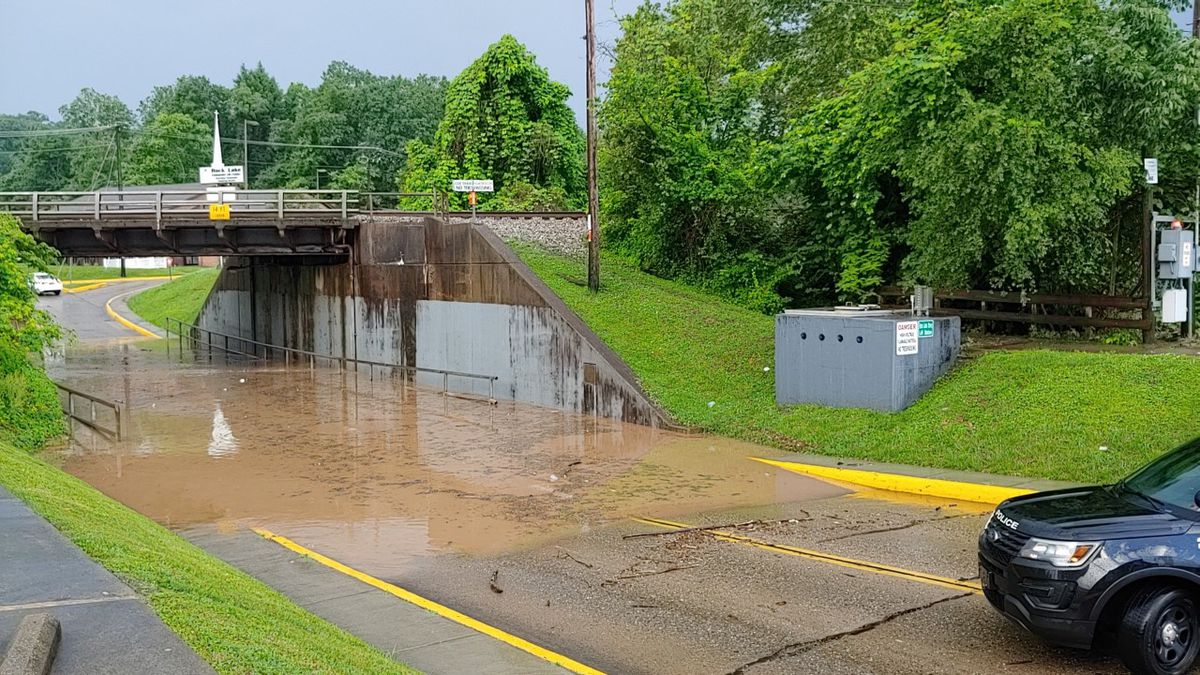 An underpass at Rock Lake Drive in South Charleston is under water.