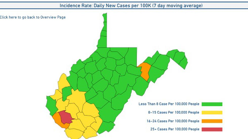 W.Va. color coded incidence rate map