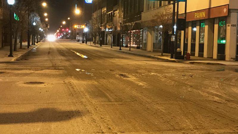 WSAZ's Andrew Colegrove got this shot Wednesday night of slick roads in Portsmouth, Ohio.
