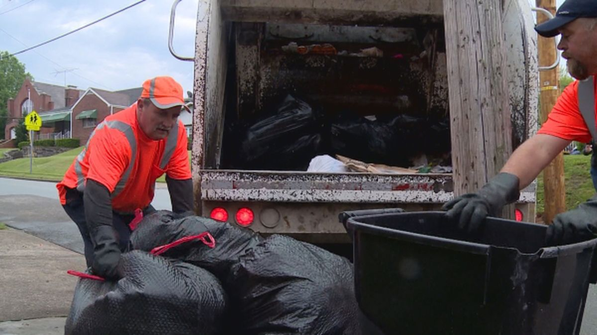 Huntington sanitation workers are picking up more trash as more people work from home during...