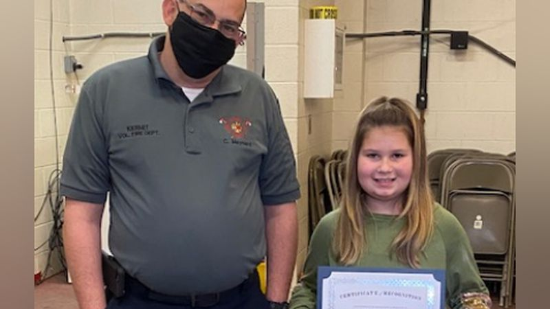 The Kermit Fire Department on Monday presented Kenadie Springer, 7, a certificate for her...