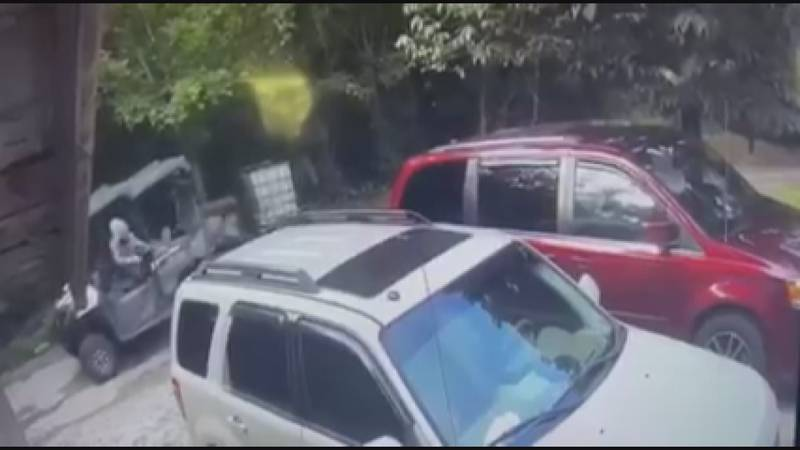 Video surveillance shows a man, later identified as Tannon Keathley, shooting toward a home in...