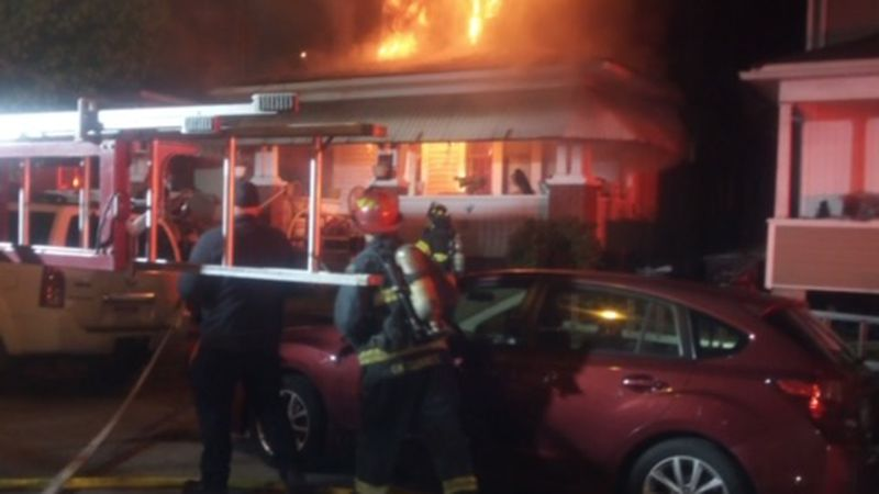 One person saved from burning home in Charleston.