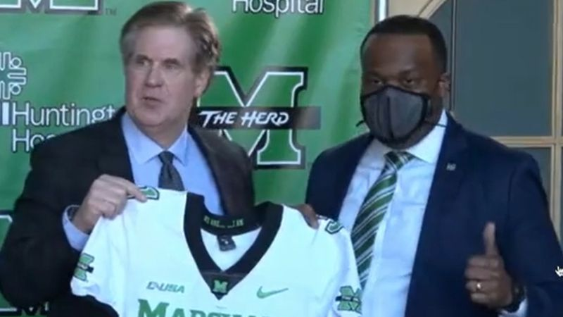 The new head coach of Marshall University's football program is introduced during a press...