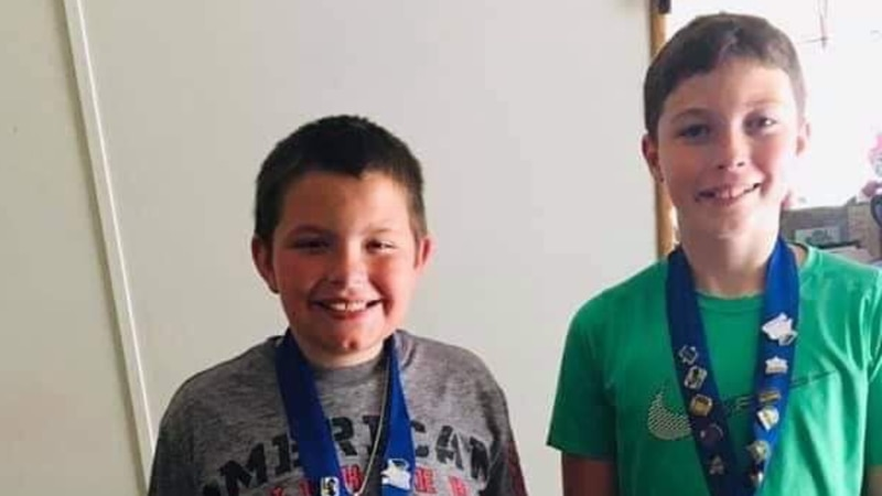 10-year-old Bentley (left) was able to wrap a tourniquet, which is a tool to help stop blood...