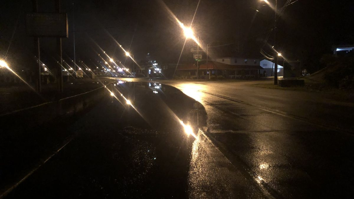 U.S. 60 is closed late Thursday night in the Montgomery area of Kanawha County due to high water.