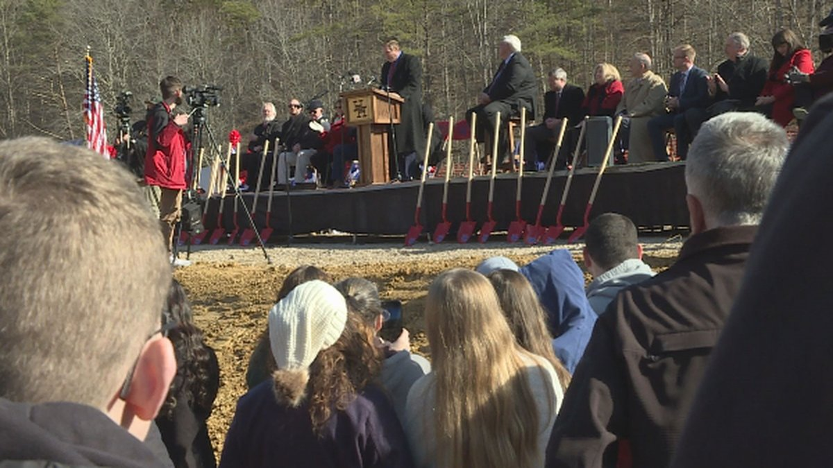 Crowd of students, teachers and community members gather for the groundbreaking ceremony for...