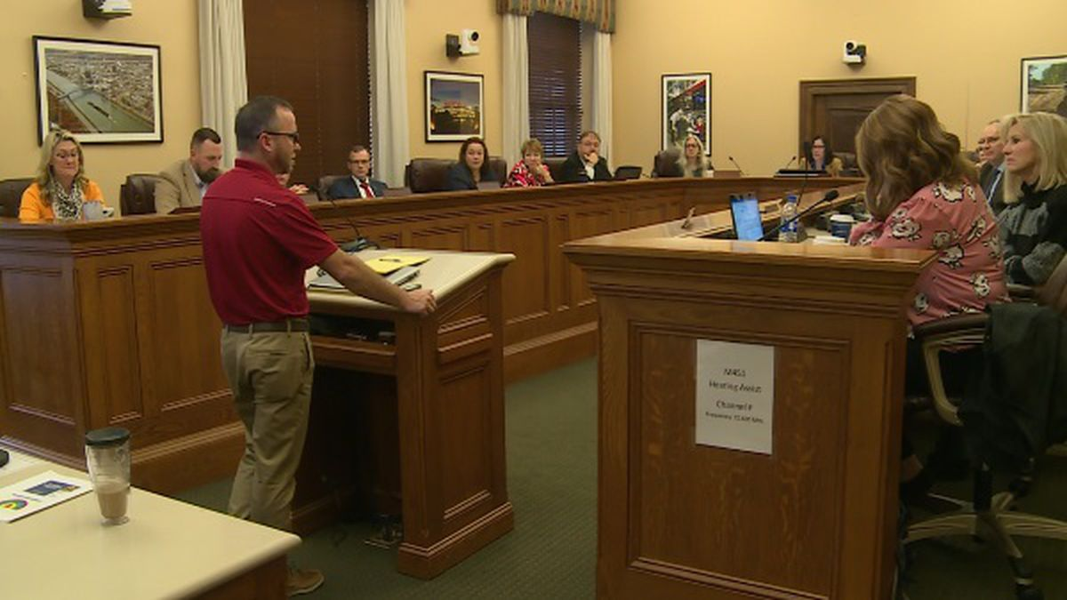 Danny Gill, a foster parent in West Virginia, speaks to lawmakers about some of the issues foster families face across the state.