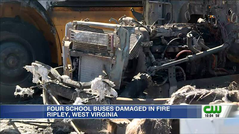 Fire damages school buses