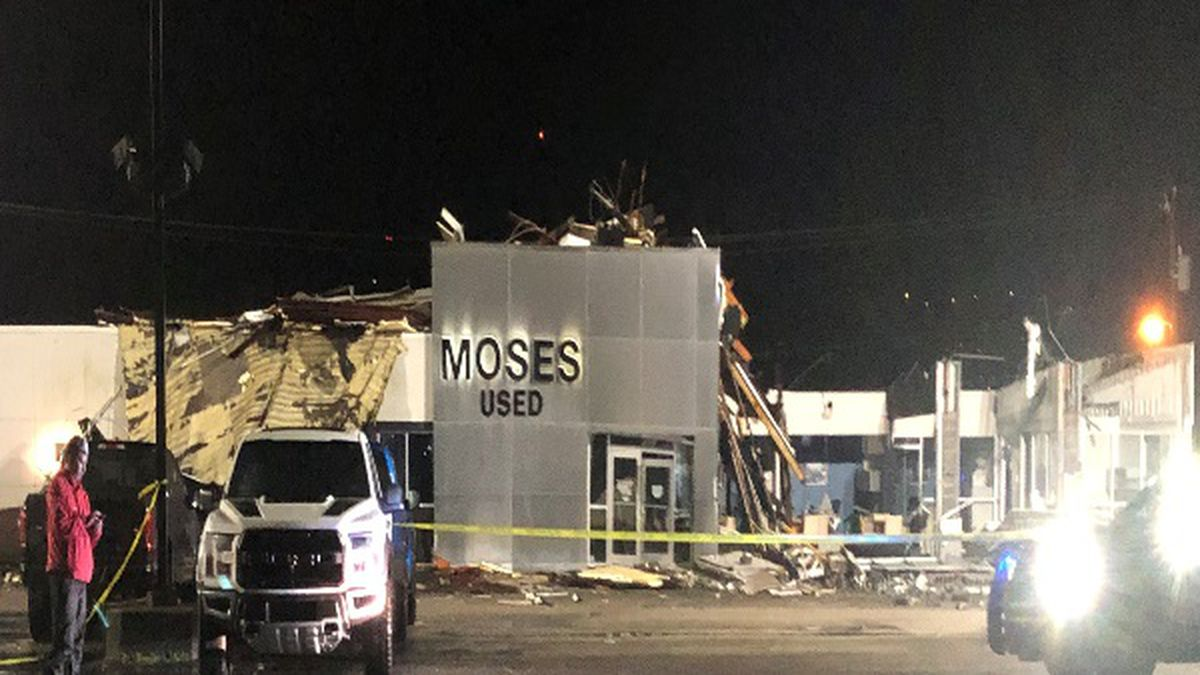 Moses Used Car was heavily damaged by storms early Thursday morning.