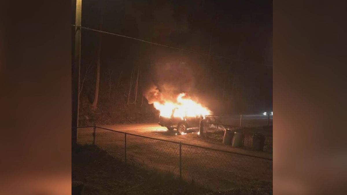 Officials say they believe someone set the vehicle on fire and abandoned it.