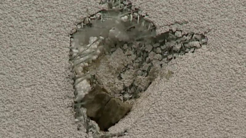 Rock fragments fell onto roofs in Chesapeake, Ohio.