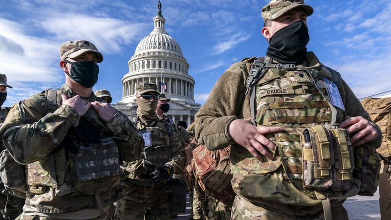 National Guard troops reinforce security around the U.S. Capitol ahead of expected protests...