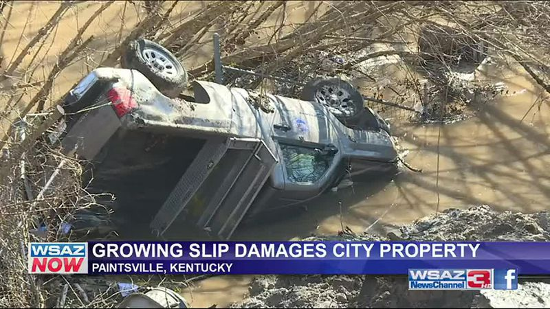 City garages are in danger in Paintsville, Kentucky Thursday as the ground they sit on...