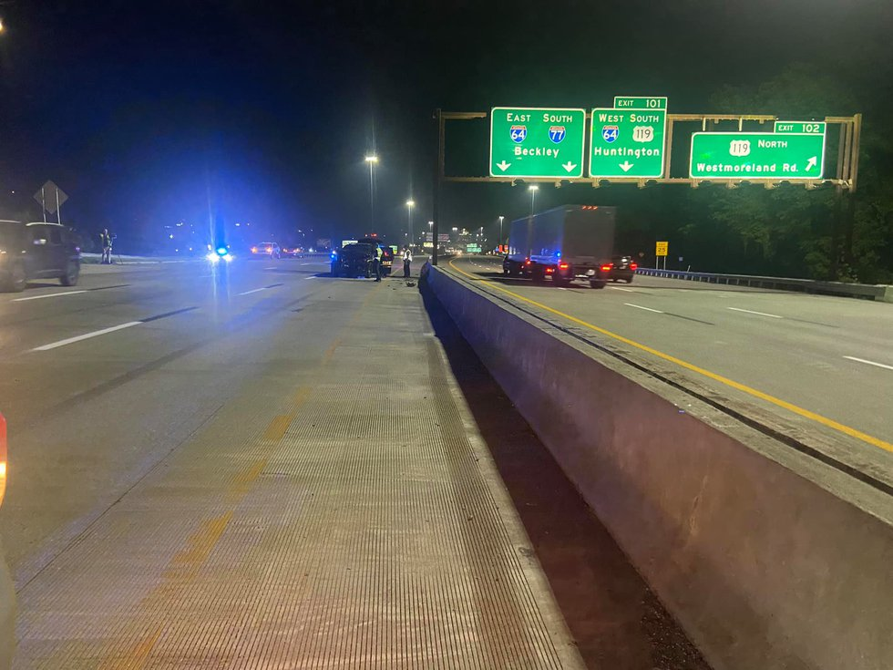 Two sheriff's department cruisers crashed on I-77 North after a pursuit.