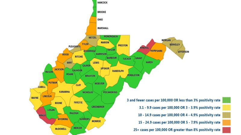 The updated metric map for the upcoming week of school in West Virginia shows counties in our...
