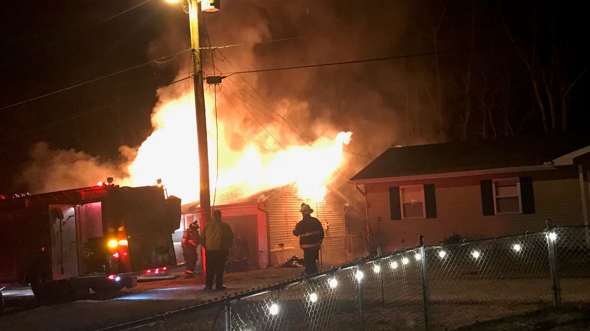 Firefighters battle flames in Culloden early Thursday morning.  No one was hurt.