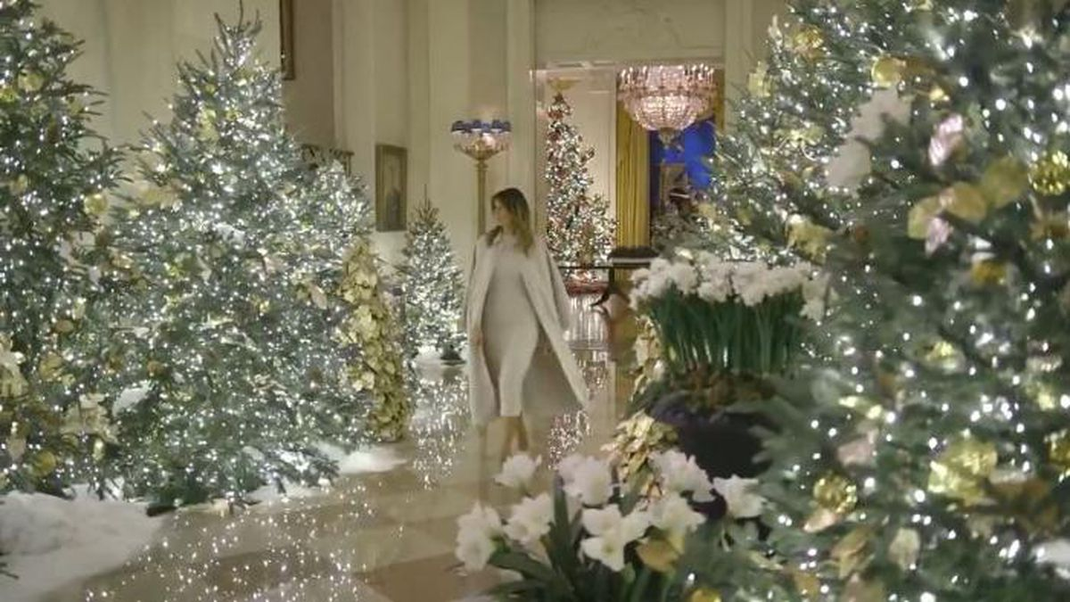 The video shows the first lady walking through the public floor of the White House amid Christmas trees decked out with white lights. (Source: Twitter|@FLOTUS/CNN)