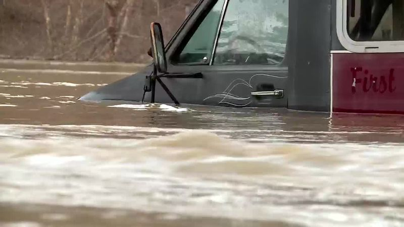 According to the Dunlow Fire Department, swift water rescue teams helped get people out of...