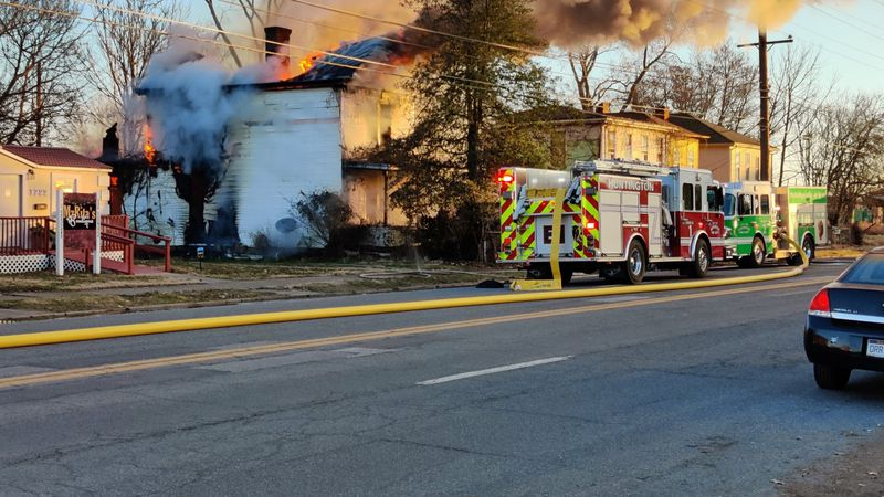 A home along 18th street catches fire Saturday morning.