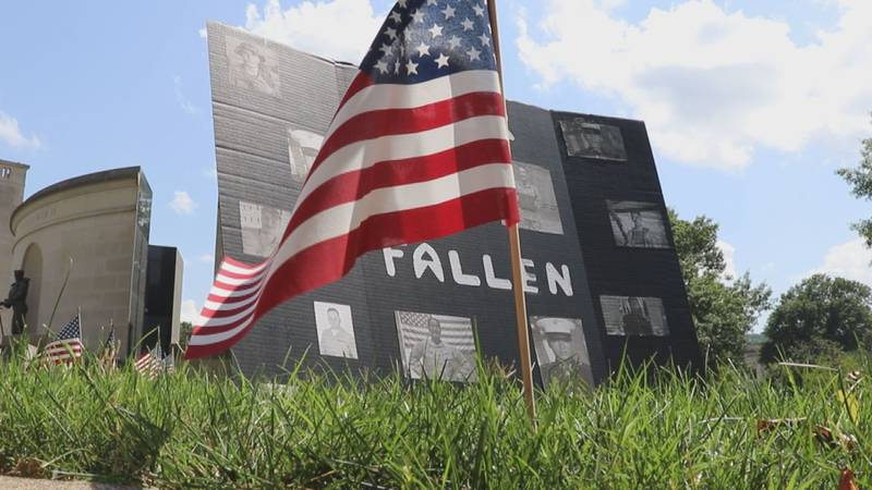 Trevor Morris placed flags at the W.Va. Veteran's Memorial.